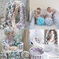 1M/2M/3M Length Newborn Baby Bed Bumper Pure Weaving Plush Knot Crib Bumper Kids Bed Baby Cot Protector Baby Room Decor - glabal-scm