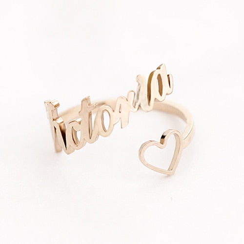 Custom Heart Name Ring Adjustable Size Stainless Steel Rose Gold Personalized Wedding Rings For Women Jewelry Bridesmaid Gifts - glabal-scm