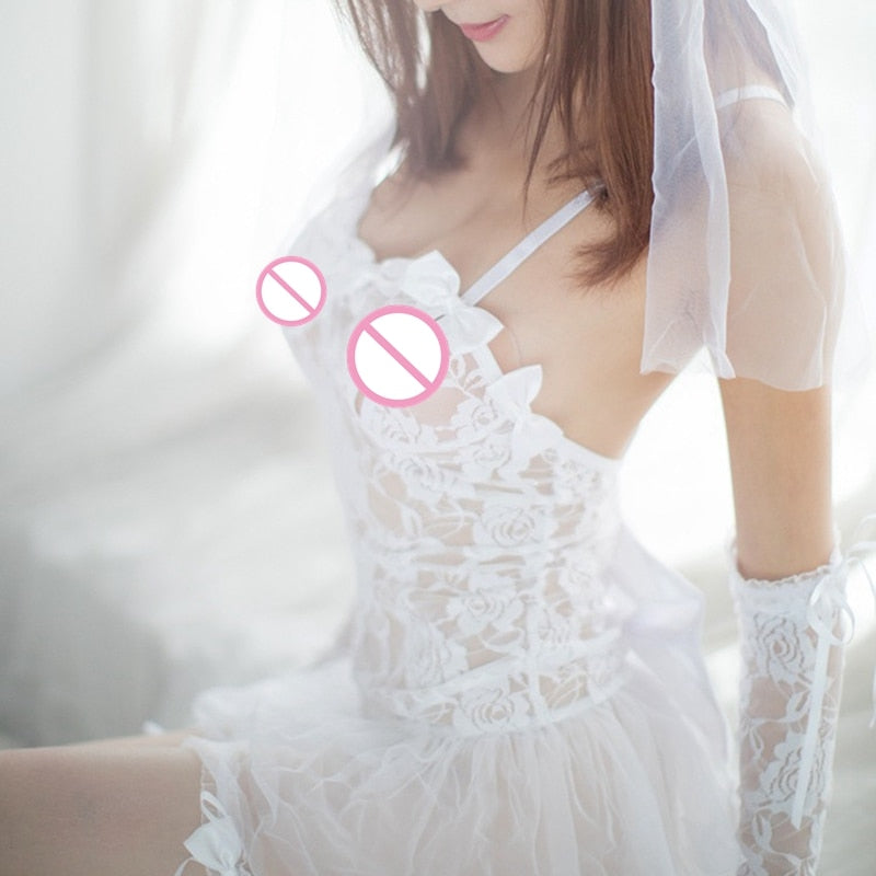 1PC Sexy Lingerie Hot White Bride Wedding Dress Uniforms Perspective Lace Gauze Outfit Erotic Lingerie  Costumes - glabal-scm