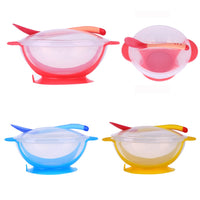 1pc/3Pcs/set Baby Tableware Dinnerware Suction Bowl with Temperature Sensing Spoon baby food Baby dinner Feeding Bowls dishes