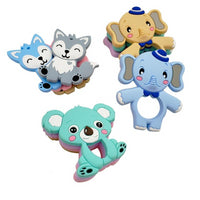 Food Grade Silicone Teethers DIY Animal Koala Baby Ring Teether Infant Baby Silicone Chew Charms Kids Teething Gift Toddler Toys