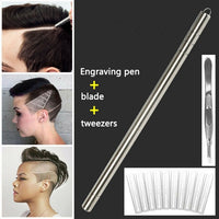 Hairstyle Engraved Pen+10Pcs Blades Professional Hair Trimmers Hair Styling Eyebrows Shaving Salon Hairstyle Accessory - glabal-scm