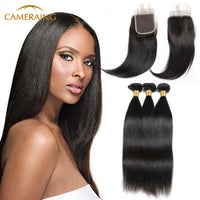Cameraing Indian Human Virgin Hair Straight weft with closure 3 Bundles with 4*4 lace closure