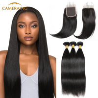 Cameraing Brazilian Human Virgin Hair Straight weft with closure 3 Bundles with 4*4 lace closure
