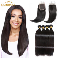 Cameraing Brazilian Human Virgin Hair Straight Hair 4 Bundles with 4*4 Lace Closure