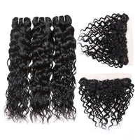 Cameraing Indian Human Virgin Hair Water Wave Hair 3 Bundles with Ear to Ear Lace Frontal 2