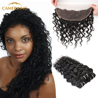 Cameraing Indian Human Virgin Hair Water Wave Hair 3 Bundles with Ear to Ear Lace Frontal 1