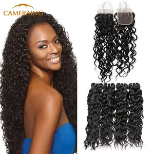 Cameraing Brazilian Human Virgin Hair Water Wave Hair 4 Bundles with 4*4 Lace Closure 1