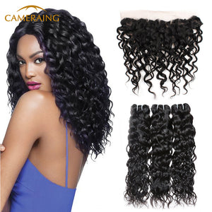 Cameraing Brazilian Human Virgin Hair Water Wave Hair 3 Bundles with Ear to Ear Lace Frontal 1