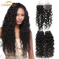 Cameraing Indian Human Virgin Hair Water Wave Weft with Closure 3 Bundles with 4*4 Lace Closure