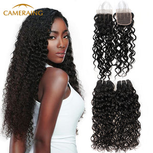 Cameraing Brazilian Human Virgin Hair Water Wave weft with closure 3 Bundles with 4*4 lace closure 1