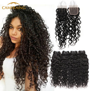 Cameraing Indian Human Virgin Hair Water Wave Hair 4 Bundles with 4*4 Lace Closure 1