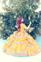 "Beauty and the Beast Wedding Dress - Couture Belle Dress Corset Fairytale Gown - Disney Wedding "" Belle Gown "" - Custom Petite to Plus - Ms Virgin Hair"