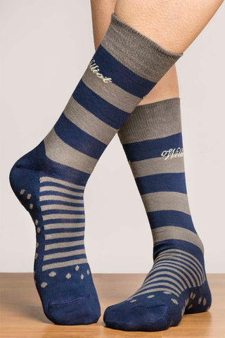 Grey & Navy Stripe Socks