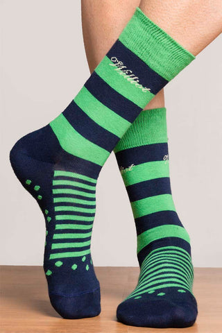 Green & Navy Stripe Socks