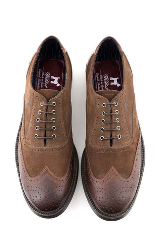 Brown Split Leather Oxford Shoes