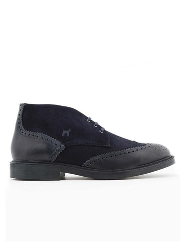 Navy Suede/Leather Ankle Boot FW19