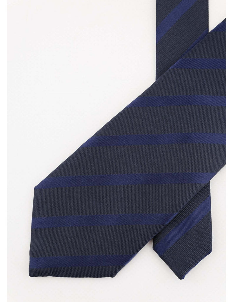 Navy Tie with Blue Stripes