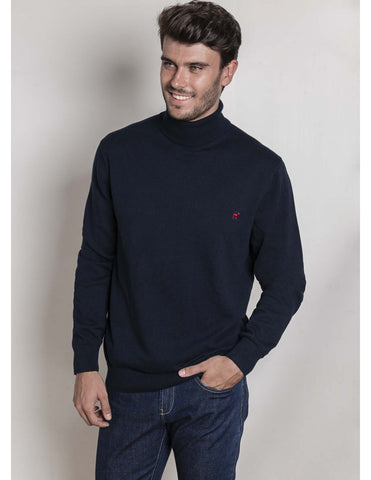 Navy Rolled Neck Sweater