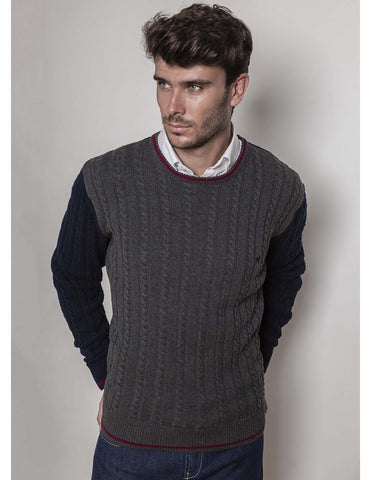 Grey Navy Braided Jumper