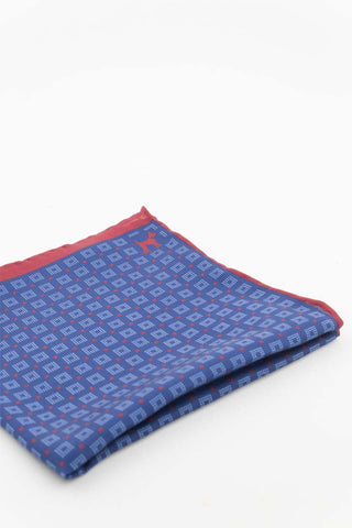 Navy Pocket Square With Blue and Red Print
