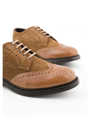 Suede Leather Contrast Blucher Shoe