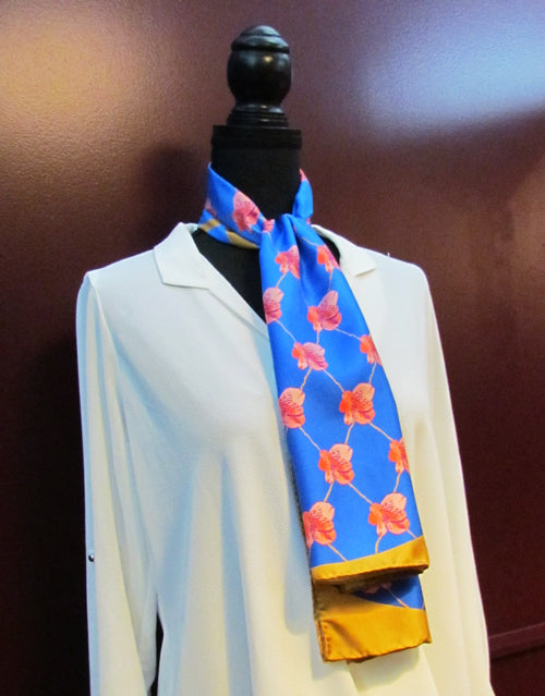 Sarahs Silk orchids and gold silk scarf collection