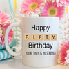50th Birthday Scrabble Gift. Funny Scrabble 50th Birthday Mug