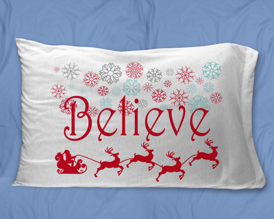 Believe Christmas gift. Believe pillowcase.