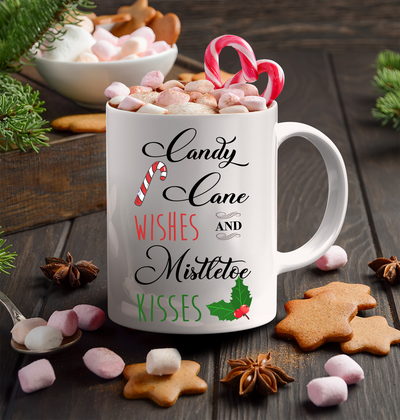 Chirstmas Gift. Candy cane wishes and mistletoe kisses. Christmas mug.