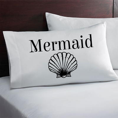Nautical Theme Couples Pillowcase. Captain Mermaid Pillowcase Set.