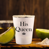 His Queen, Her King Shot Glass Pair. Anniversary Gift. Wedding Gift. Couples Gift.