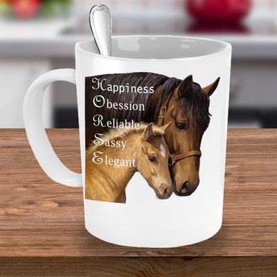 Love Horses Coffee Mug – Horse Riding Equestrian Dressage Show Jumping Horse Lover Mug