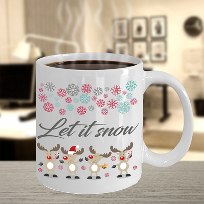 Let it snow reindeer snowflake Christmas mug