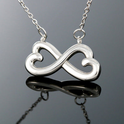 To my wife infinity 3D pendant necklace. Wife jewelry gift for birthday or anniversary celebration.