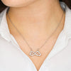 To My Mom Love From Your Son Gift. Far Apart Infinity Jewelry.