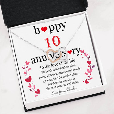 Personalized Happy Anniversary Interlocking hearts necklace.
