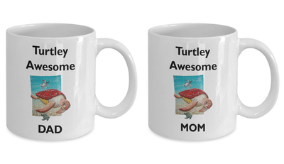 Turtle gifts for mom and dad. Turtley awesome parents. Mother's Day or Father's Day gifts. Birthday mug for mom and dad.