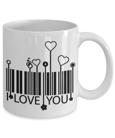 I Love You Barcode Coffee Mug