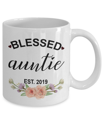 Personalised Blessed auntie est 2019. Auntie gift. Blessed auntie mug.