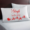 Christmas themed pillowcase. Sleigh bells ring Christmas gift.