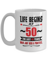 Funny Birthday Coffee Mug - Life begins at 50