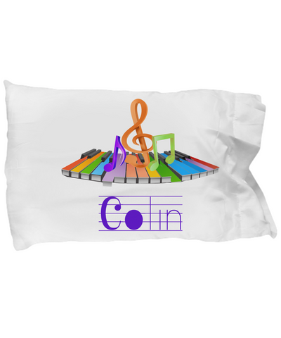 Personalized music keyboard piano notes pillowcase gift