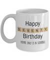 70th Birthday Scrabble Gift. Funny 70th Birthday Mug
