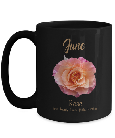 Personalized June Rose Flower Birthday Gift. Personalized June Birthday Mug.