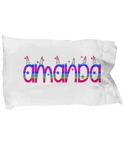Personalized Unicorn Themed Pillowcase. Unicorn themed bedding.