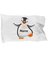 Personalized Penguin Gift. Named Penguin Pillowcase.