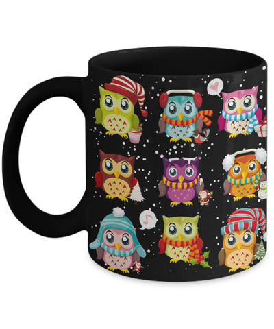 Christmas Owls mug - Christmas Stocking Filler for Owl Lover