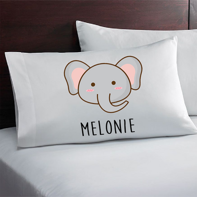 Personalized baby elephant pillowcase. Gift for girls and boys. Personalized party favors.