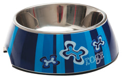 Rogz 2-in-1 Bubble Dog Bowl (Indigo Bone Design)